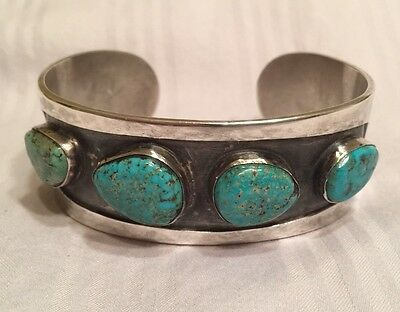 Indian Mountain Turquoise Native American Navajo Sterling Silver Bracelet Vintag