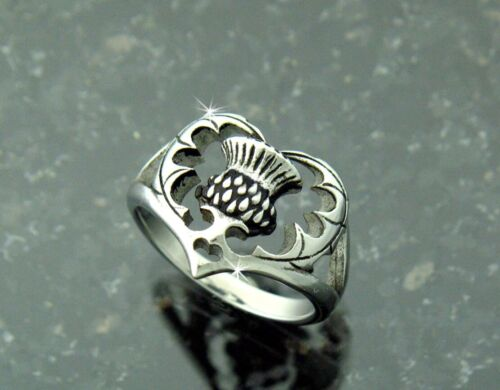 Bold Scottish Thistle Ring I love Scotland In 316 L Stainless Steel