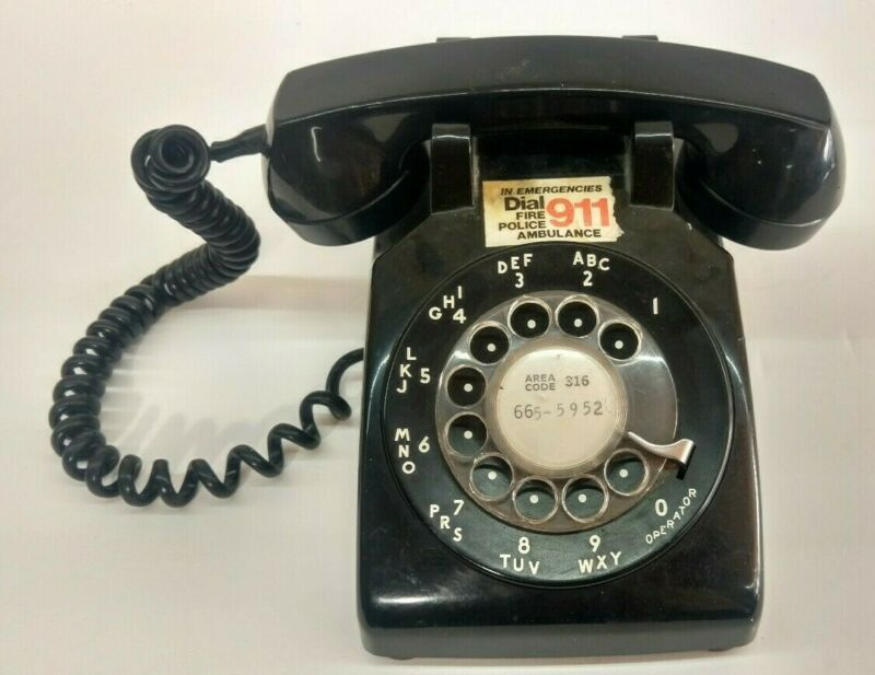 Vintage Black Rotary Dial Desk Phone Bell System Western Electric
