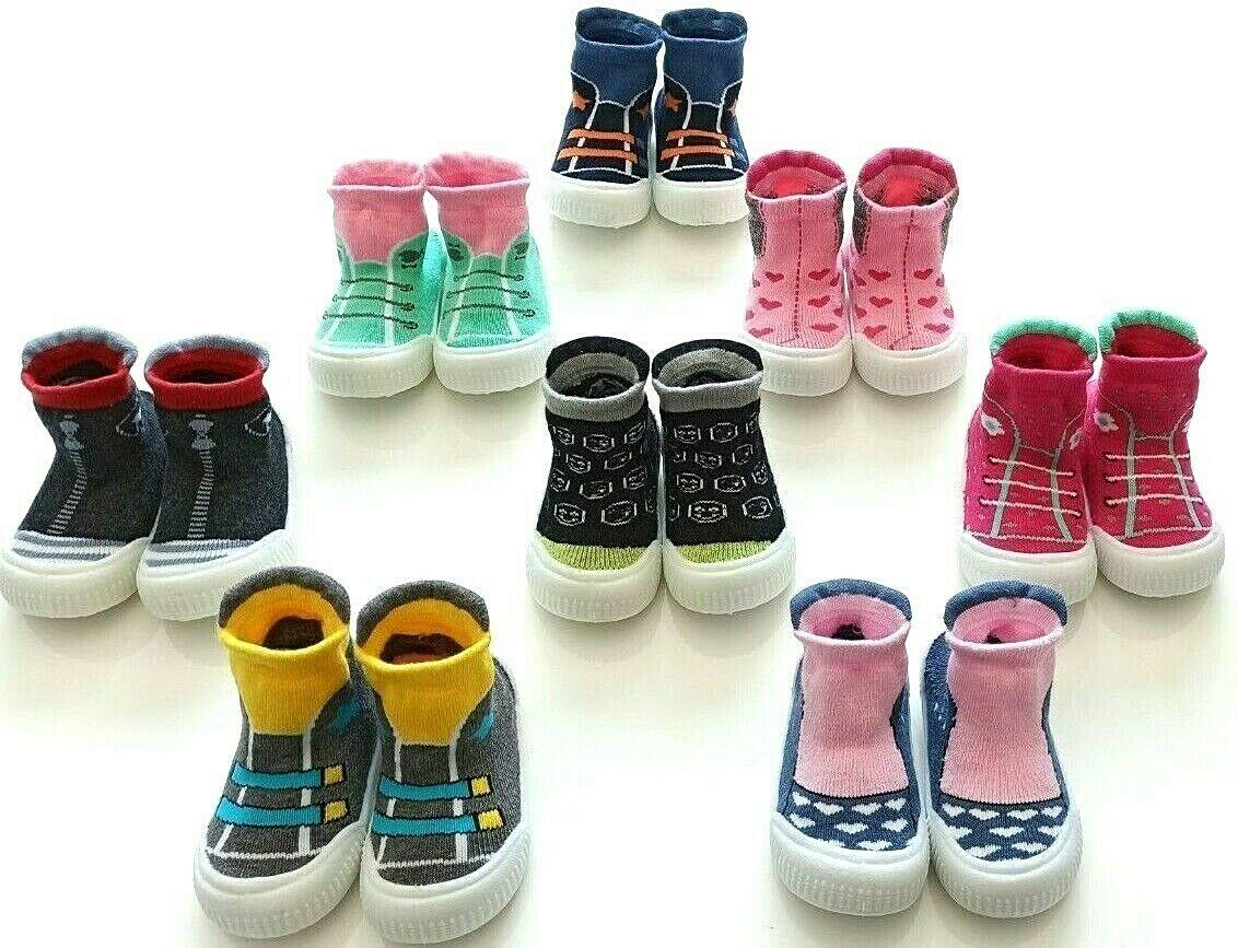 Baby Hausschuhe mit Silikon Sohle Kinder Socken Frottee Anti-Rutsch Gr 20-23 NEU