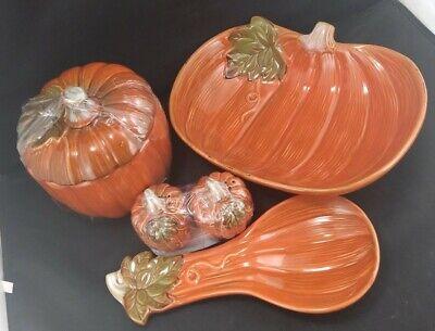 5 Piece Pumpkin Kitchen Set : S&P Shakers, Bowl, Spoon Rest & Cookie Jar NEW IB