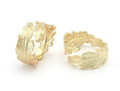 Leaf Ring Adjustable Shiny Gold Plated brass (19mm 9US inner size) 3217