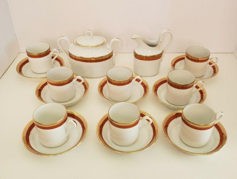 Richard Ginori Cream Sugar + 8 Demitasse Expresso Cups Saucers Palermo Rust Red