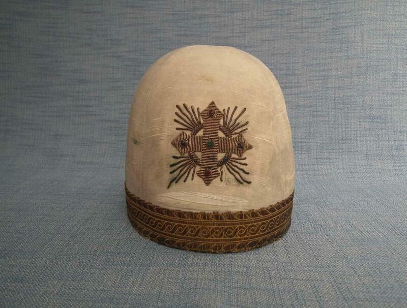 Antique Armenian Ceremonial Embroidered Silk Liturgical Hat Saghavard Armenia