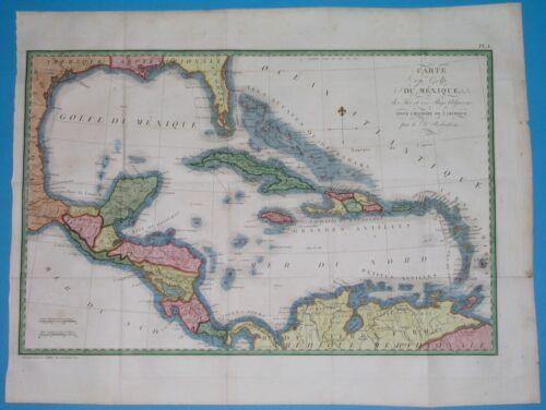 1800 RARE ORIGINAL MAP UNITED STATES TEXAS FLORIDA CUBA ANTILLES CENTRAL AMERICA