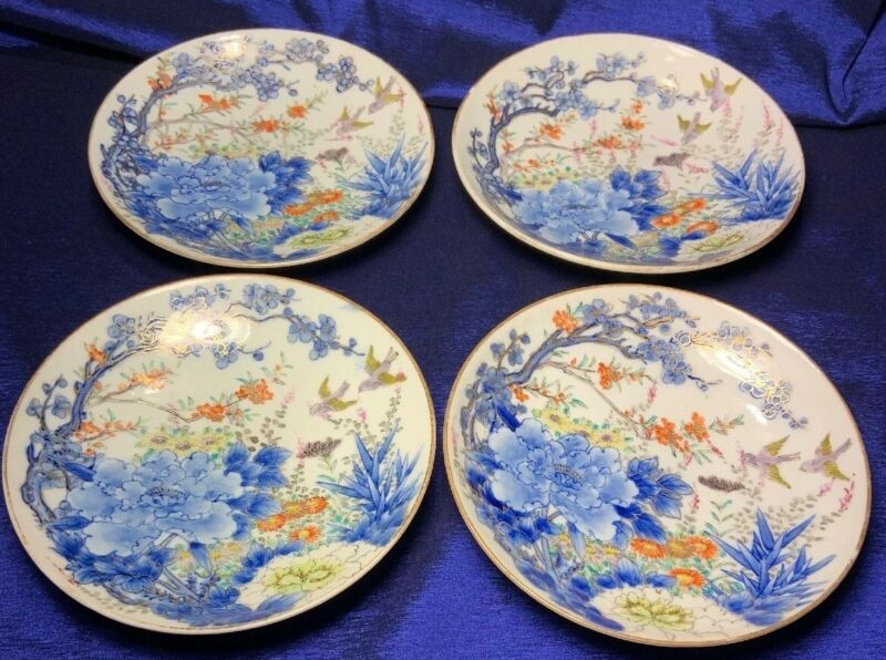 "Antique Japanese Fukagawa Hand Painted Plates Signed Set Of 4, 6 1/3"" Exquisite!"
