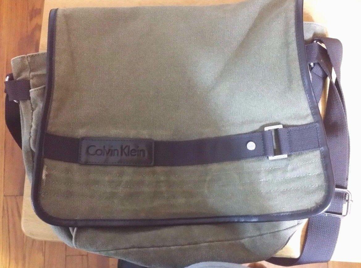calvin klein canvas brown messenger bag