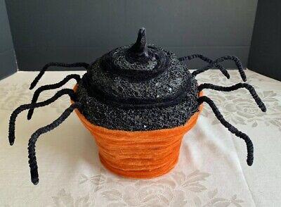 Halloween Spider Cupcake Black Orange Velvet Textile Tabletop