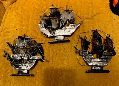 3 Lot Vtg Tin Christopher Columbus Ships Santa Maria Nina Pinta Deco Gray