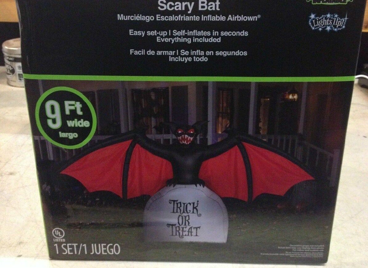Gemmy Halloween Scary Bat On Trick Or Treat Tombstone Airblown Inflatable Prop