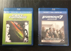 The Fast and the Furious (1) / Furious (7) Blu-ray movies