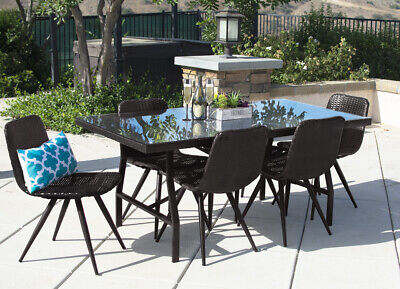 Garden Furniture - 7PC Outdoor Dining Set Brown Wicker Patio Furniture Table Chair Pool Garden Deck
