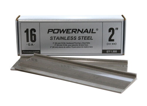 "Powernail Stainless Steel 16-Ga Floor Cleats - 2"" long (1000 nails per box)"