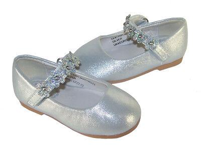 Mädchen Kleinkinder Silber Funkelnd Ballerina Anlass Blumenmädchen Party Schuhe ()