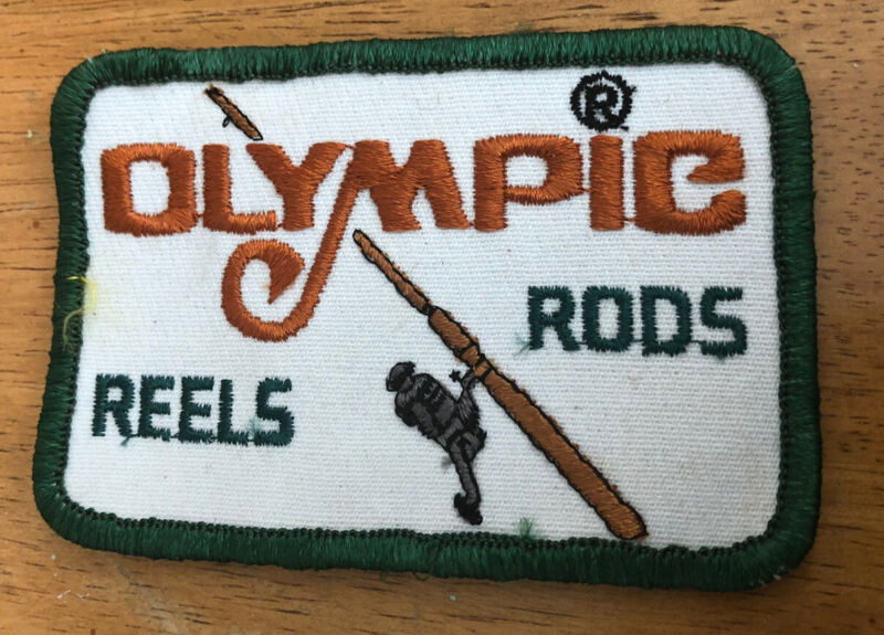 Vintage Fishing Lure Tackle Rod Reel Patch Olympic Free Shipping