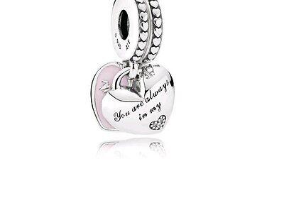 Authentic Pandora 792072EN40 Mother & Daughter Pink Enamel CZ - Pink Enamel Charm