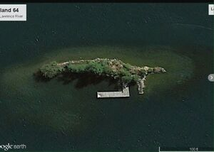 Small island in 1000 Islands. St. Lawrence River