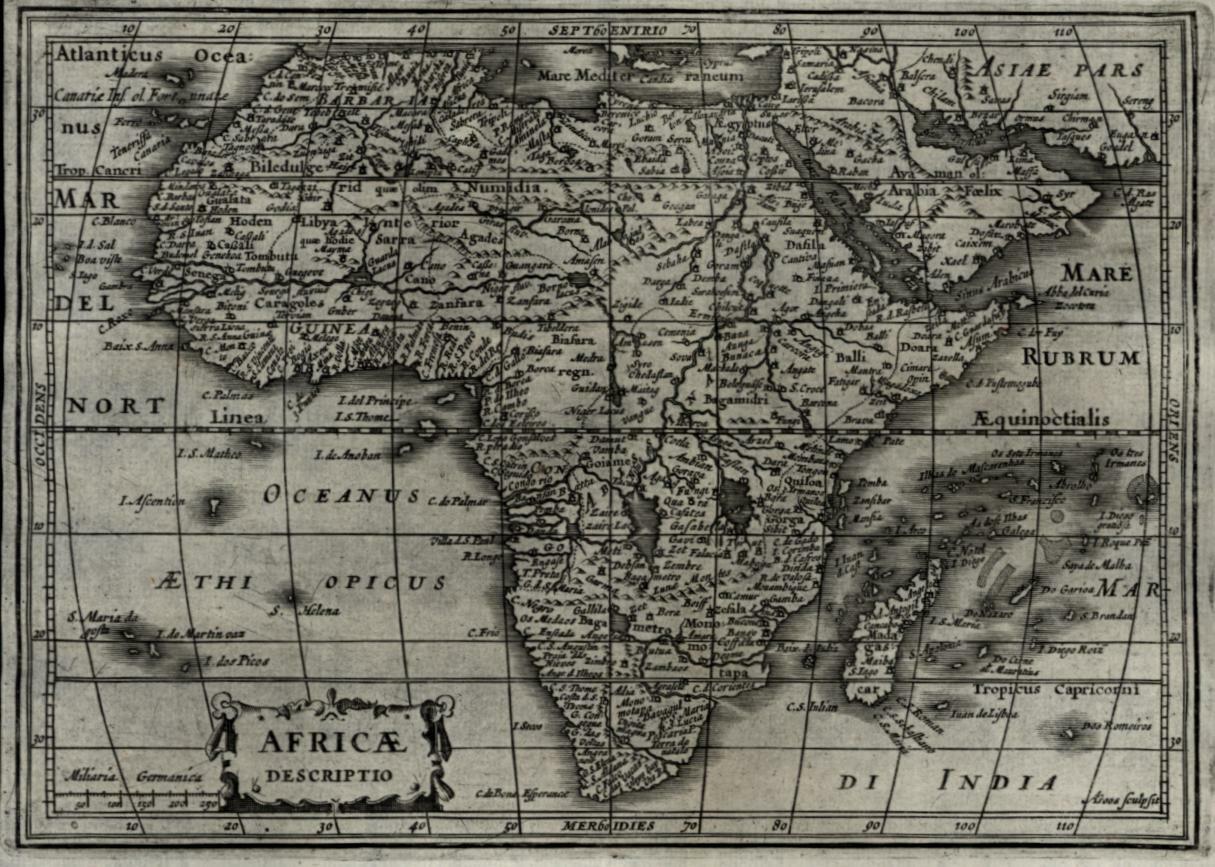 African continent 1628 Johannes Janssonius A Goos miniature map