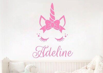Nursery Name Art - PERSONALIZED NAME UNICORN GIRLS Vinyl Wall Art Decal Kids Children Nursery Room