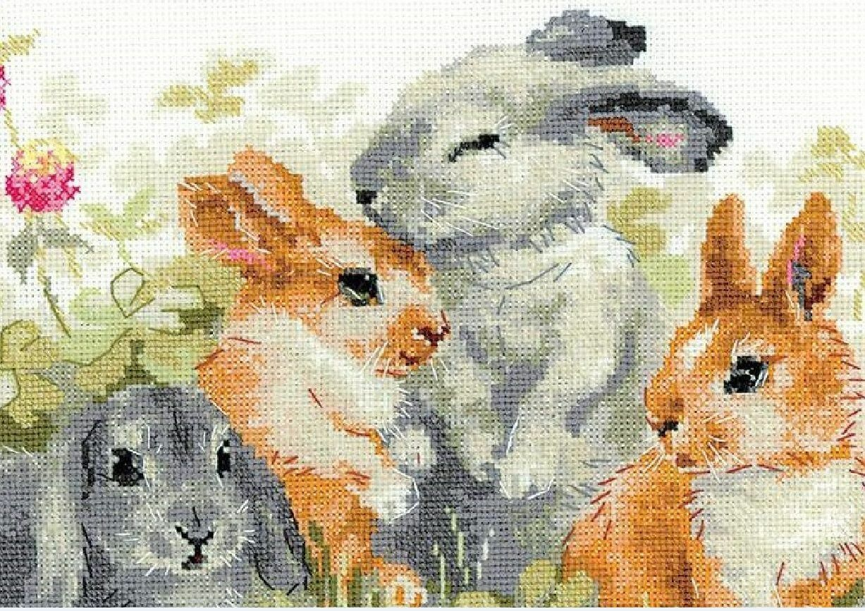 14ct Blank Fabric Joyautum Fishxx Printed on Canvas Counted Chinese Cross Stitch Kits Set Embroidery Needlework Kitchen Mouse Next to Pumpkin