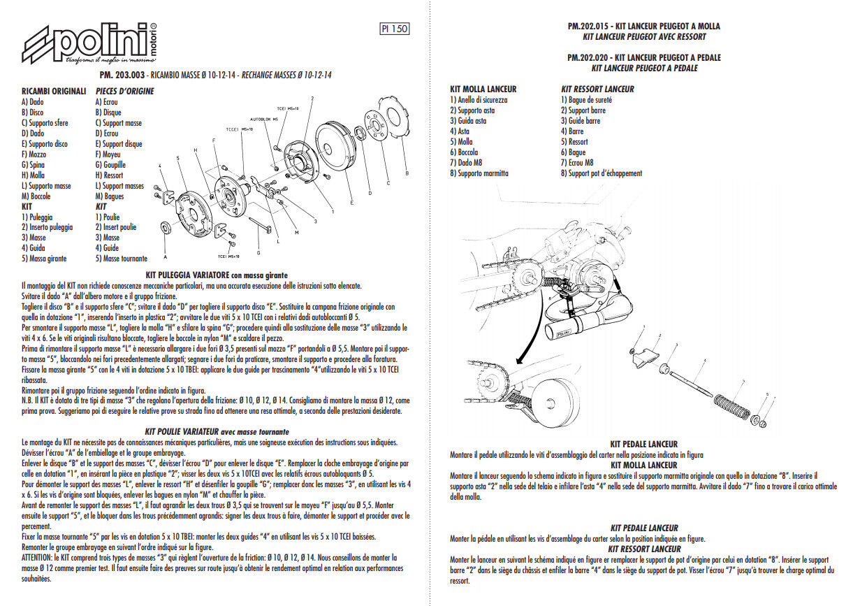 Kit variateur POLINI Spring PEUGEOT 103 MVL RCX SP SPX Vogue ressort pédale NEUF