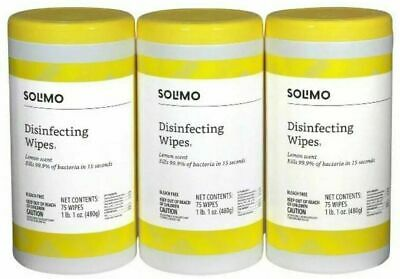 Amazon Solimo Wipes Lemon Scent 75 Count x 3 = 225 Wipes - SEE NOTES
