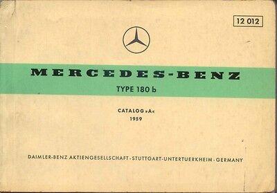 Mercedes Benz 180 b Ponton 1959 Original Multilingual Spare Parts List  No.12012