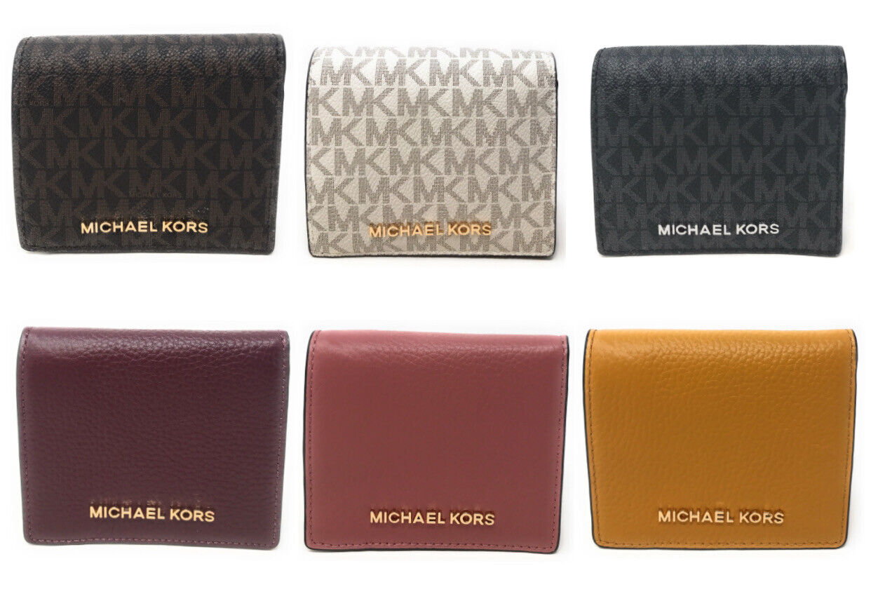 Michael Kors Jet Set Travel Medium Carryall Card Case Wallet Leather Credit Card Clothing, Shoes & Accessories