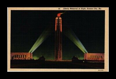 DR JIM STAMPS US LIBERTY MEMORIAL NIGHT KANSAS CITY MISSOURI VIEW POSTCARD