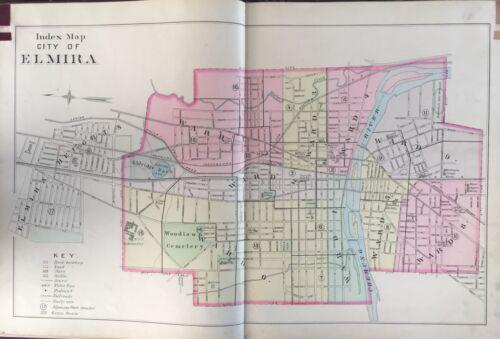 ORIGINAL 1896 A.H. MUELLER, ELMIRA, NEW YORK, INDEX PAGE, PLAT ATLAS MAP