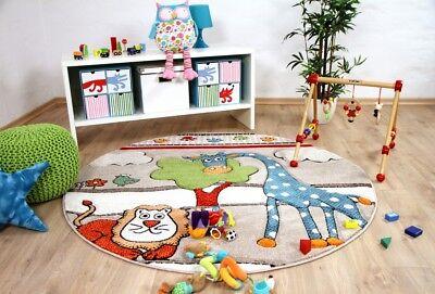 a Kids Lustige Zoowelt Beige Rund (Lustige Teppiche)