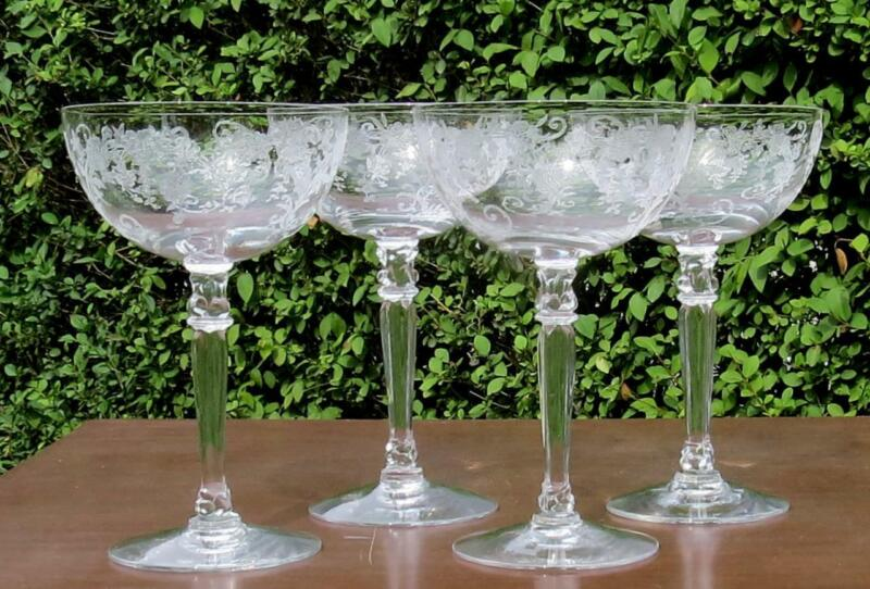 FOSTORIA BUTTERCUP - 4 TALL CHAMPAGNE SHERBET GLASSES