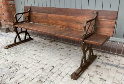 Vintage School Bench - Back folds up to turn into a School Desk !!  Wood & Iron