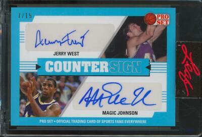 2021 Leaf Pro Set Counter Sign Jerry West Magic Johnson /15 Auto Autograph