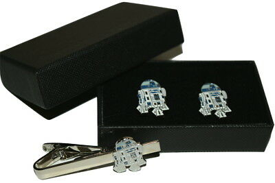 Star wars R2D2 Cufflinks & Tie Clip Set GIFT Boxed Enamel Wedding Mens Dad Son