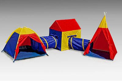 Kinderzelt Spielzelt Spielhaus Tunnel  Krabbeltunnel Pop-Up Mehrfarbig 3 in 1