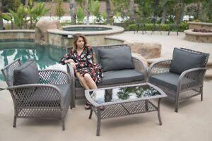 outdoor patio furniture grey pe wicker 4pcs luxury sofa seating cushioned set - Luxury Patio Furniture