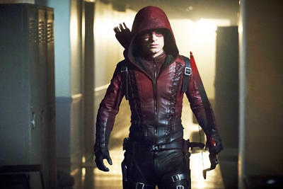 Men Arrow Arsenal Red Colton Haynes Hooded Special Faux Leather Jacket - Colton Haynes Halloween