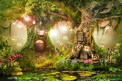 7X5FT Vinyl Studio Backdrop Background Fairy Tale Big old Tree House Pond Scenic