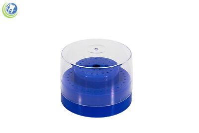 Round Dental Bur Block Holder Station W Lid Holds 30 Hp 20 Ra 10 Fg Blue