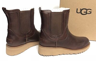 UGG Australia Slim Britt Chestnut Leather Wedge Womens Ankle Chelsea Boots Slim