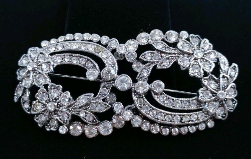 (W) vintage flower Deco Style Silver Tone Clear Rhinestone Dress Brooch Pin