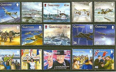 Guernsey-Second World War set of 15 stamps(mnh)Churchill -Spitfire-Dambusters