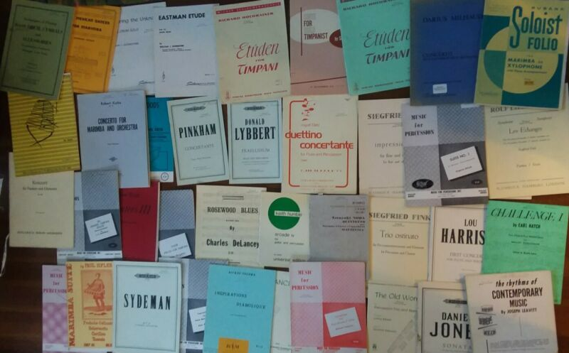 Huge lot of 50+ Vintage Drum Percussion Performance+Technique Books/Sheet Music