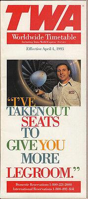 TWA system timetable 4/4/93 [308TW] Buy 2 Get 1 Free
