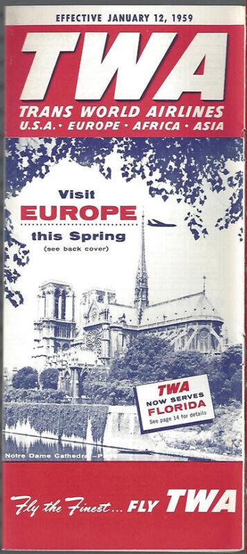 TWA system timetable 1/12/59 [9081]