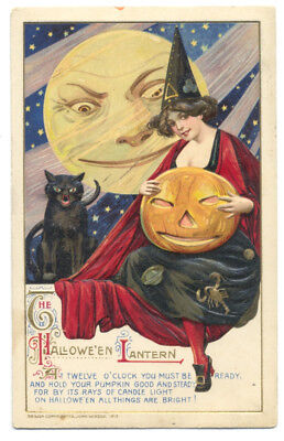 SCHMUCKER WINSCH HALLOWEEN 1912 BEAUTIFUL WITCH Black Cat JOL Poem MOON