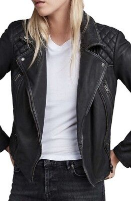 **CURRENT SEASON **Bnwt Allsaints Catch/Cargo Leather Biker Jacket.uk 10.£298