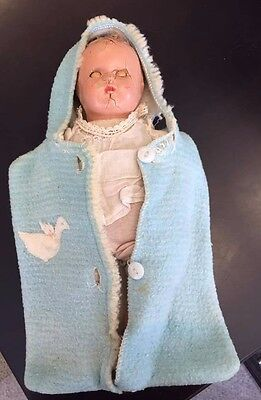 Antique? Vintage Composition Doll with Clothing Baby Bunting OLD