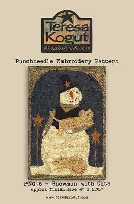 Snowman with Cats PN016 Punchneedle Punch Needle Winter Teresa Kogut Pattern